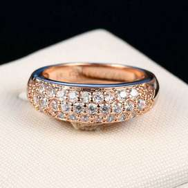 Gold Plated White Zircon Ring Wedding Anniversary Gift Jewelry