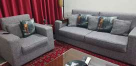 5 seater Awesome Sofa set in Gray colour along with cushion cover