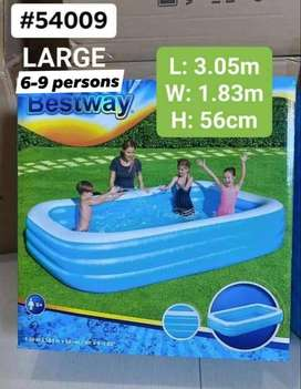 BESTWAY 54009 DELUXE FAMILY INFLATABLE SWIMMING POOL