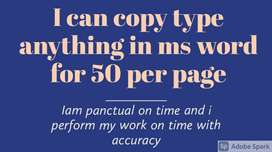 I can type anything any document in ms word