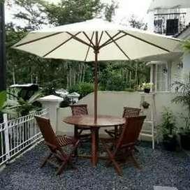 Meja Payung set kursi dari kayu jati