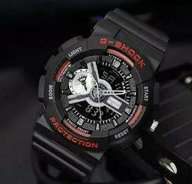 jam tangan g shock ga-110 warna hitam list merah rubber material