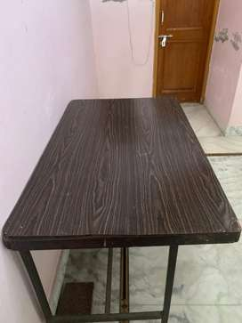 Wood with iron base table