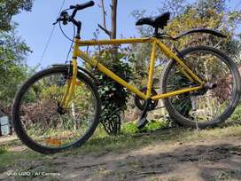 Mach city ibike, yellow colour with mach city mud guards and foot rest