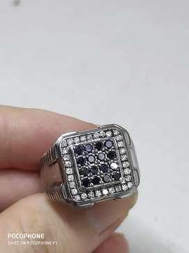 Cincin berlian stampel ring perak murni