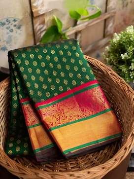 Kanchipuram silk brocade royal-green saree
