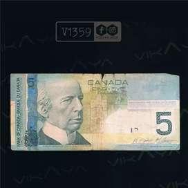 V1359 Uang Lama Asing Pecahan 5 Dollars Canada Tahun 2002