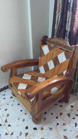 Sofa chairs wooden & 1 teapoy