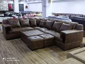 0% emi Bajaj finance signature L sofa with center table and puffies
