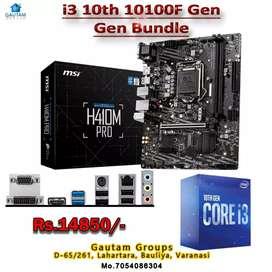 i3 10th GEN 10100F CPU + MSI 410 MOTHER BORD M.2 READY 3YEAR WARRANTY