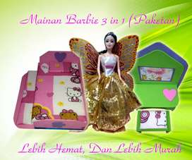 Satu set mainan boneka Barbie 3 macam murah