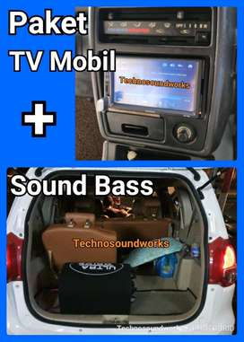 Paket sound TV mobil double 2 din tape Mp5 + sub woofer power bass
