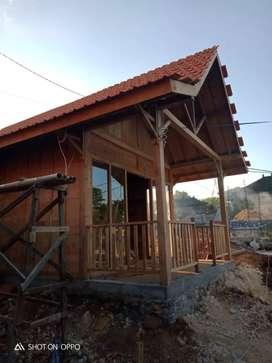 Rumah Tekuk lulang, kayu jati, motif villa, speak kamar tidur + teras