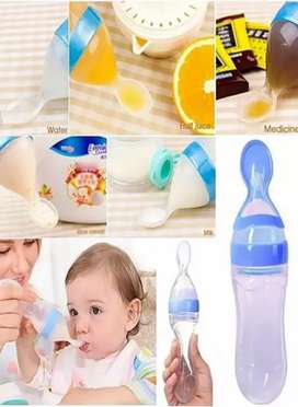 Baby Spoon Feeder Milk Bottle Silicone Squeeze Safe Pacifier