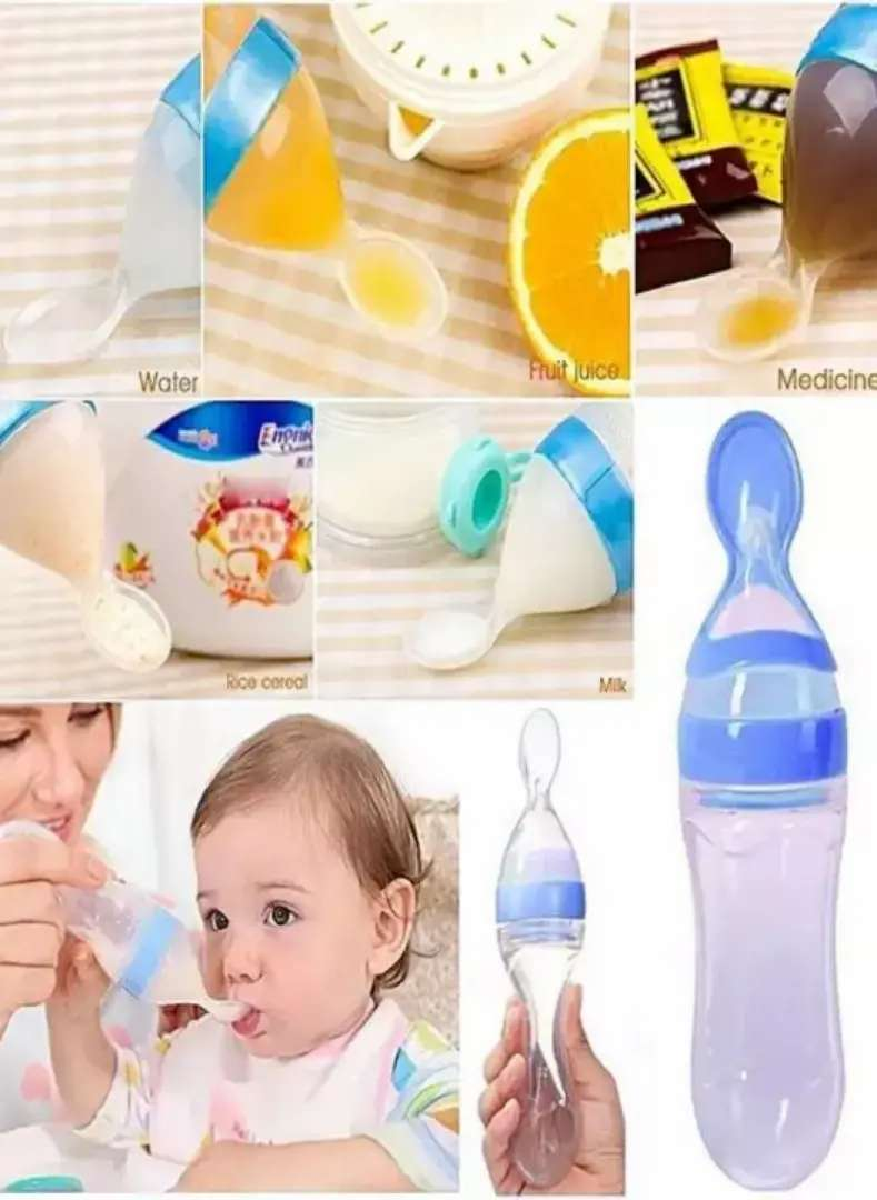 Baby Spoon Feeder Milk Bottle Silicone Squeeze Safe Pacifier 0
