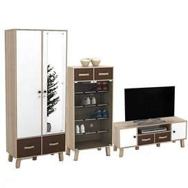 3in1 Set Minimalis (Lemari 2P, Rak sepatu, Rak TV) Baru | COD makassar
