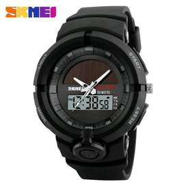 Jam Tangan Analog Digital Skmei Seri Ae1580 Solar Power Black