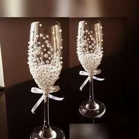 Bridal Pearl Decored Wine Glass