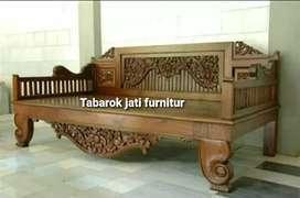 Bangkau santai ukiran mewah, p.200x80, bahan kayu jati tua asli