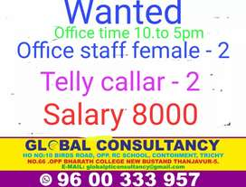 Office staff female only & telly callar