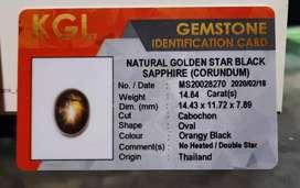 NATURAL GOLDEN STAR BLACK SAPPHIRE 14.84 crt