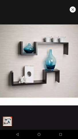 Wall hanging shelf black Brown with solid wooden