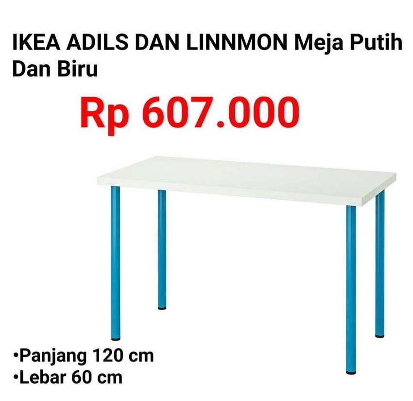IKEA 371 ADILS & LINNMON 120x60 Meja Serbaguna Putih Kaki Biru