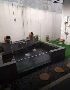 Kolam koi kaca bahan batu alam