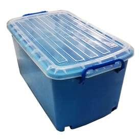 Box Plastik Container PREMIUM JUMBO + Roda ukuran 90 L - tutup BENING