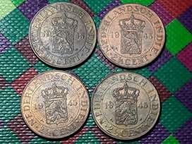 Uang Kuno Tahun 1945 Pecahan 2 1/2 Cent