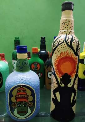 2 Painted Bottles for home decorations