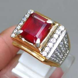 Cincin Garnet Batu Akik Merah Kotak Asli Natural Gambar Huruf X