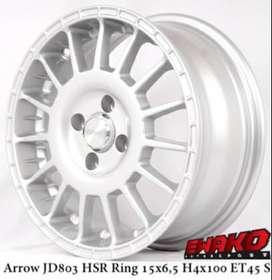 jual velg type hsr ARROW JD803 HSR R15X65 H4x100 ET45 SILVER