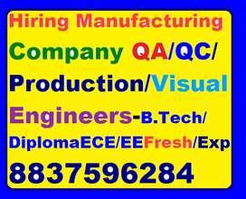 Manufacturing Company Hire QA/QC/Production Er:ITI/Dip/B.tech ECE/EE