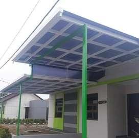 Kontruksi kanopy rangka tunggal,atap polikarbonat 018