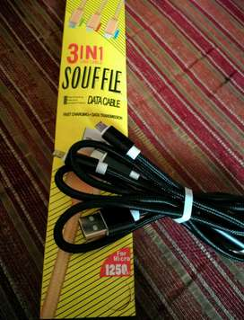 kabel data souffle 3 in 1, micro,type c, pin . new.