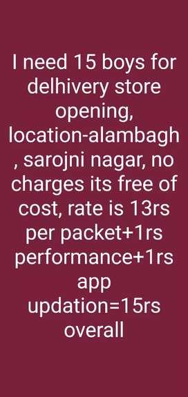 Need boys for aishbagh,para, Rajajipuram, Aminabad,dubagga,hussainganj