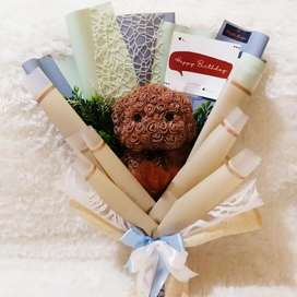 Buket bunga artificial berbentuk puppy