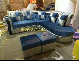 Blue Chester feel sofa with paffi