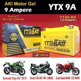Aki Motor GEL Ninja 250fi, NS200, 250SL, ZX250R