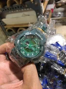 Grosir jam baby g dualtime fiture lengkap green army