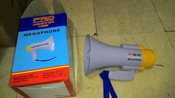 megaphone toa pengeras suara alarm rekam speaker baterai cas 0