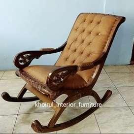 Kursi goyang jok busa  furniture kayu jati.