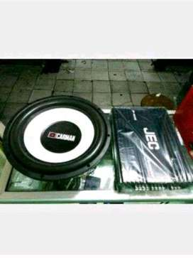 Plus pemasangan power JEC 4 channel 12000 w + Subwoofer Carman 12in do