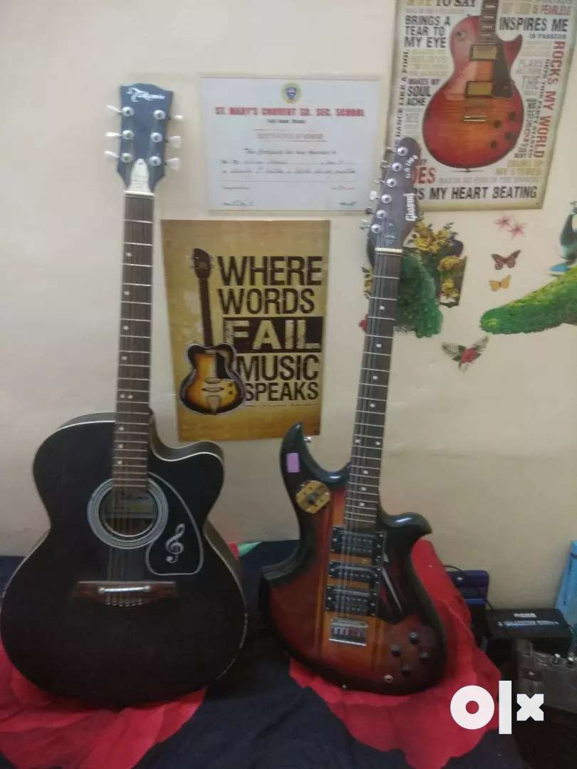 Acoustic guitar and electronic guitar 0