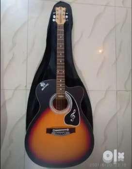 Mustang Semi Electric cum Acoustic Guitar Red