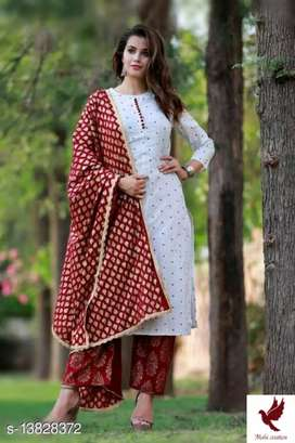 Cotton straight Printed kurti with plazo