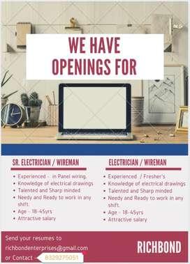 Urgently Req. ITI, Diploma - Sr & Jr Electrician / Wireman, Technician