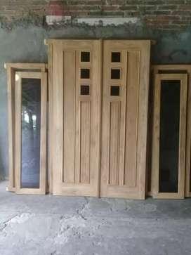 Pintu kupu tarung/utama kayu jati