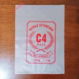 Plastik beras C4 raja merah ukuran 2,5 kg & 3 kg.